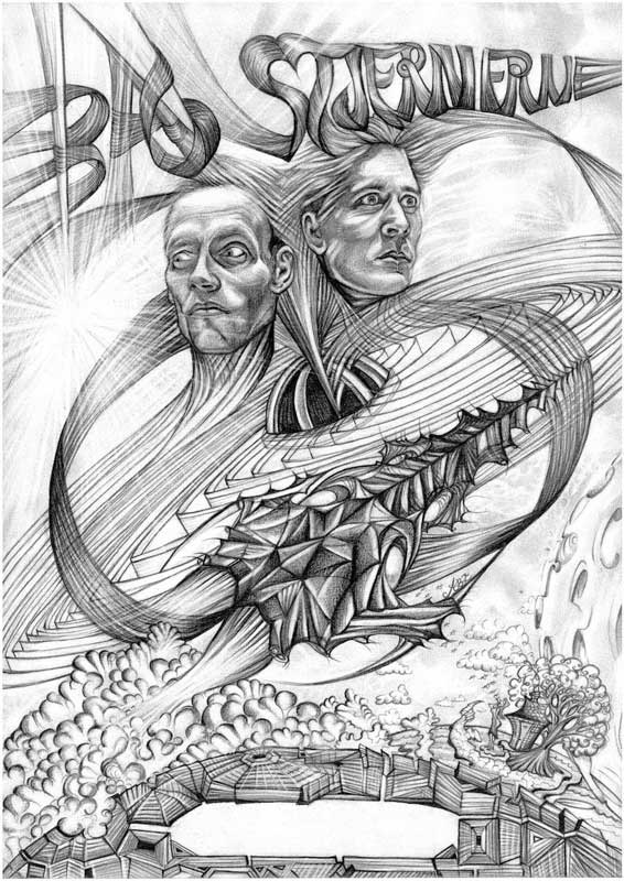 Poster To The Bachelor Performance 'Behind The Stars' By Simon Kongsted And Magnus Hald. 'A Musical Science-fiction-thriller'. Den Danske Scenekunstskole And Aarhus Teater 2019. Pencil On Paper. A3