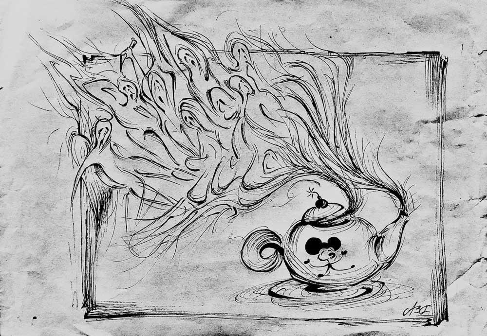 Poster | Tales From The End Of Time - Extracts From The Absurd | Jonathan Paul Cook. Den Danske Scenekunstskole. Black Pen On Papir
